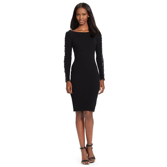 Ralph Lauren Black Ribbed Lace Up Sweater Dress Nwt